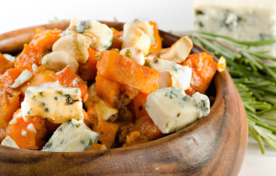 Caramelised pumpkin and Gorgonzola salad