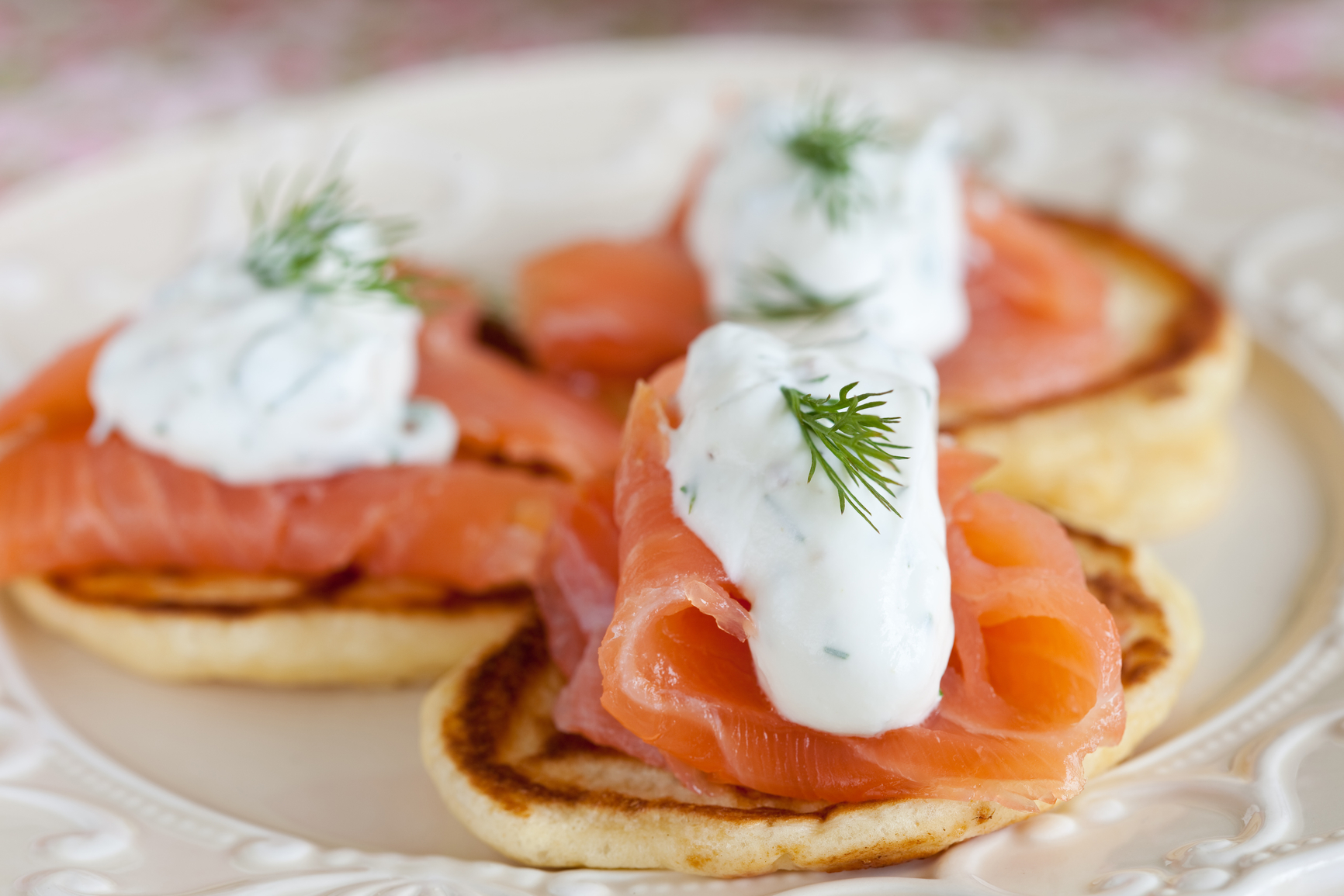Blinis with smoked salmon and creme fraiche