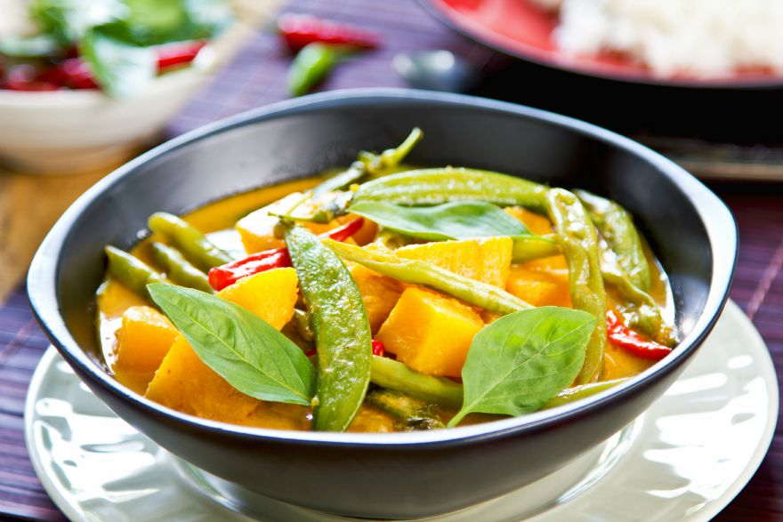Pumpkin with green bean and snap pea red curry