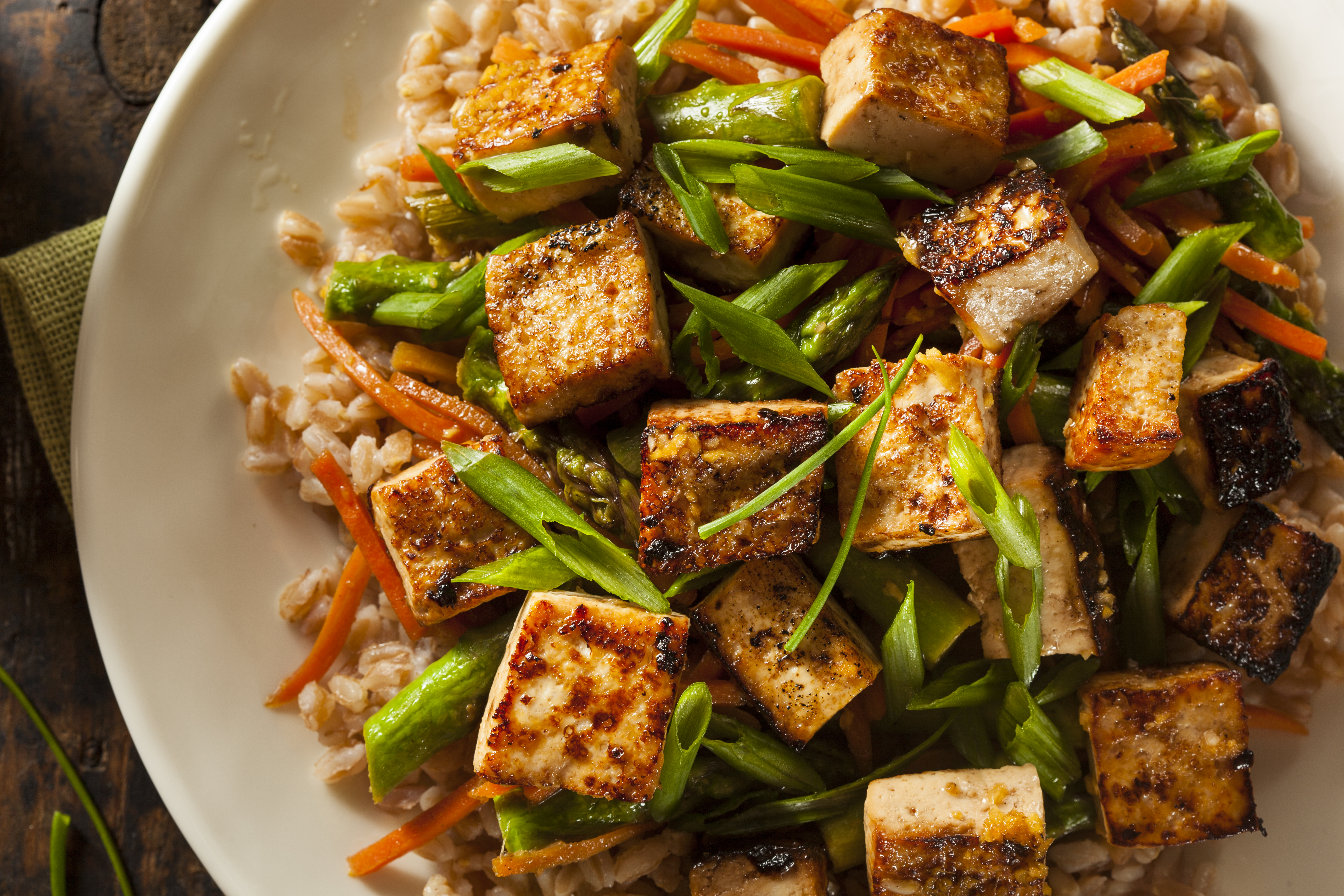 Five Spice Tofu Stir-Fry with whole grain rice