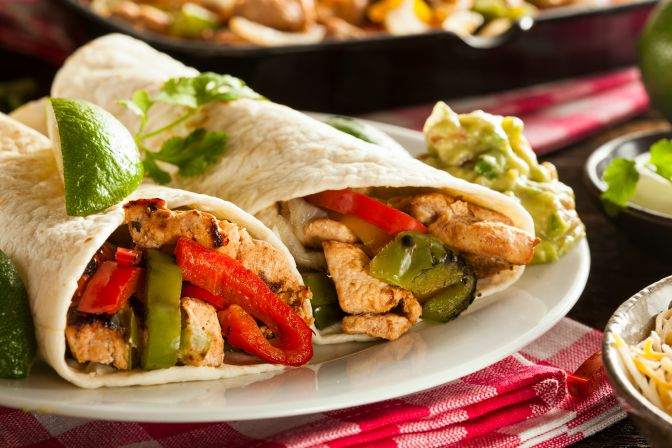 Chicken & Vegetable Fajitas with Guacamole