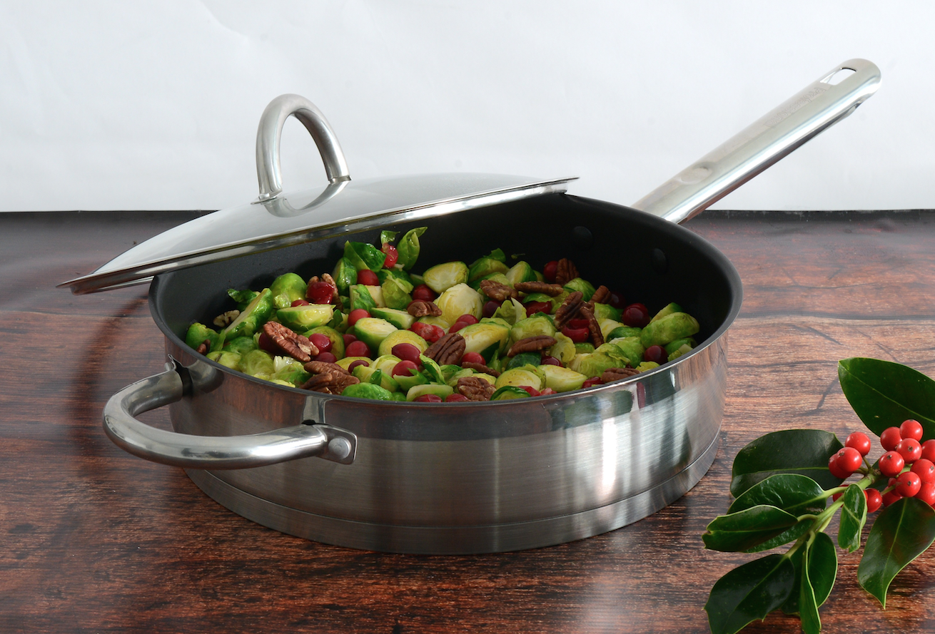 Sautéed Brussel sprouts with cranberries and pecans