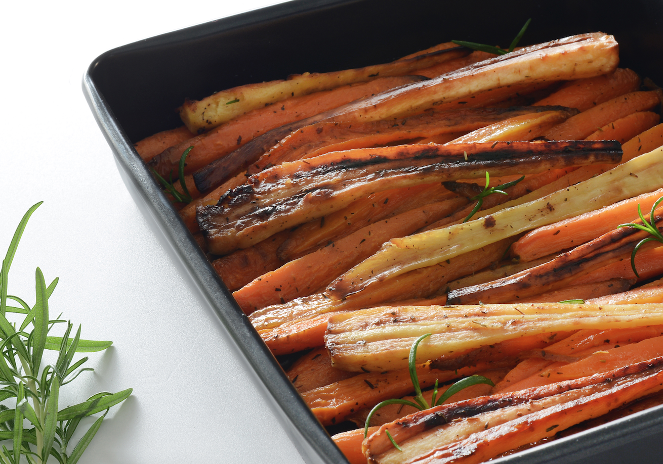 Honey-glazed carrots and parsnips