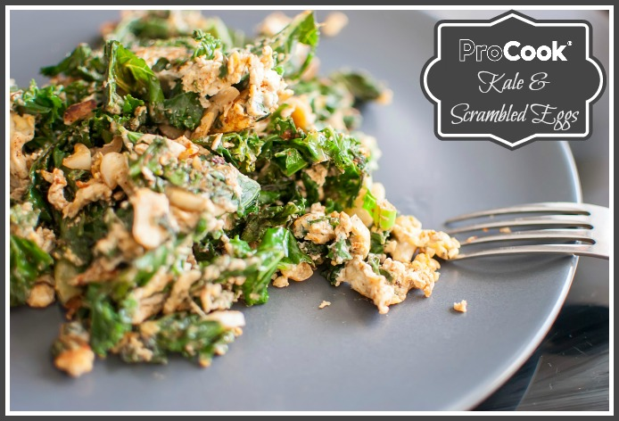 healthy fresh green kale with scrambled eggs