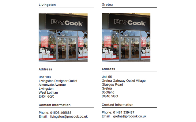 Details of our ProCook Scottish Stores; Livingston and Gretna