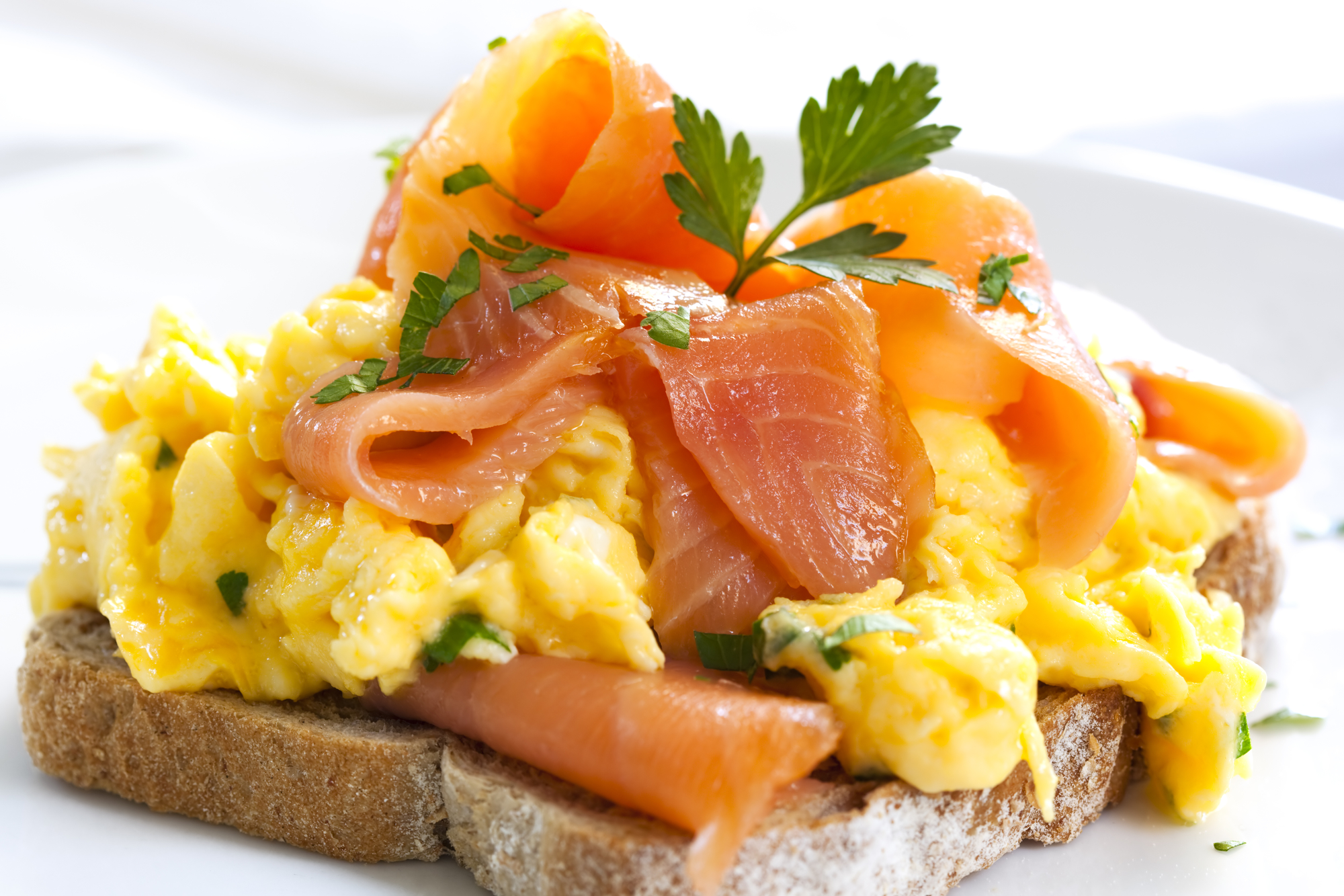 Perfect scrambled eggs with salmon