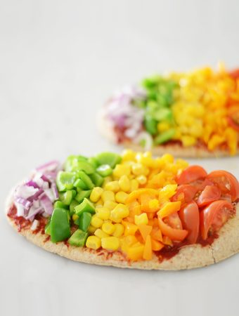 Rainbow pitta pizzas