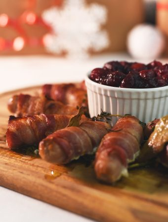 Festive pigs in blankets wreath