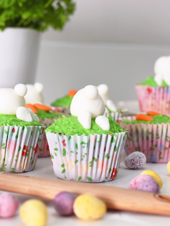Simple bakes recipe four, Bunny Cupcakes with green icing alongside ProCook silicone spatula