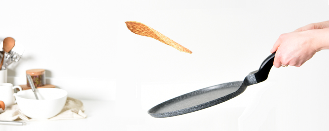 Flipping pancake for Pancake Day with ProCook