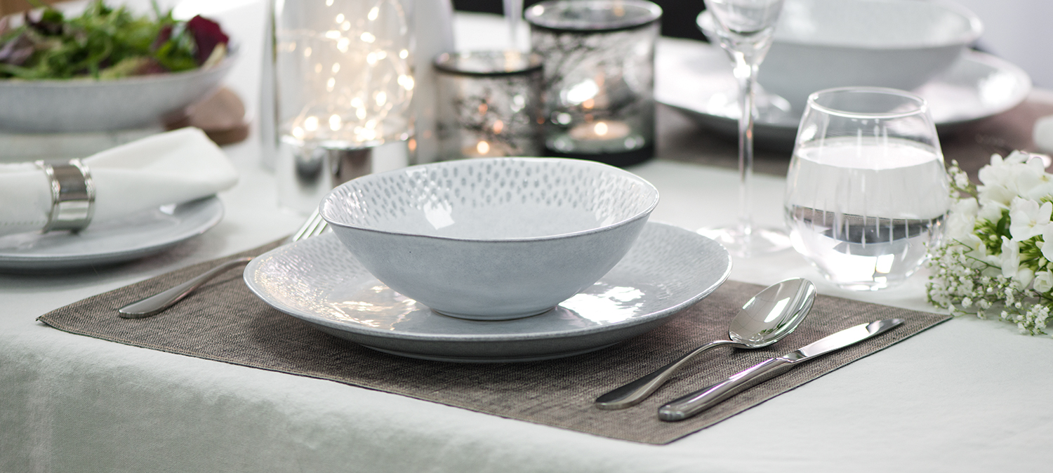 ProCook tableware set up for a romantic meal for two