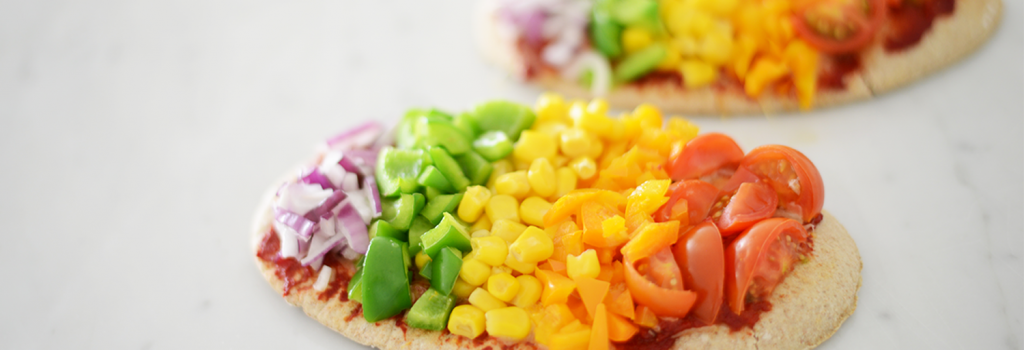 Great for getting children eating their veggies, we love these ProCook Rainbow Pitta Pizzas! Fun and simple to make they are great for lunchboxes too.