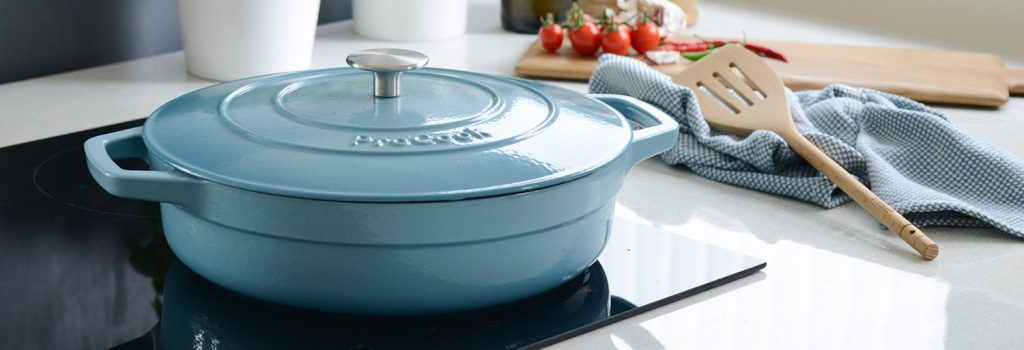 ProCook Cast Iron Shallow Casserole in Graduated Turquoise, perfect for making homemade pizza!
