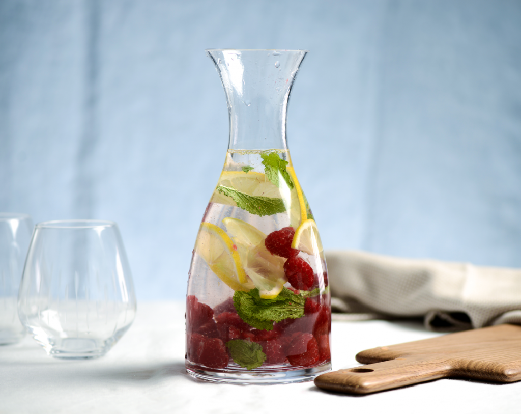 ProCook infusions: raspberry, lemon and mint served in a ProCook Carafe