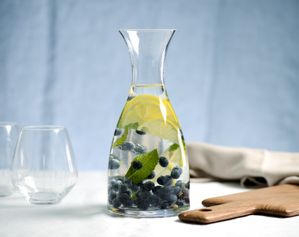 ProCook infusions: blueberry, mint and lemon served in a ProCook Carafe