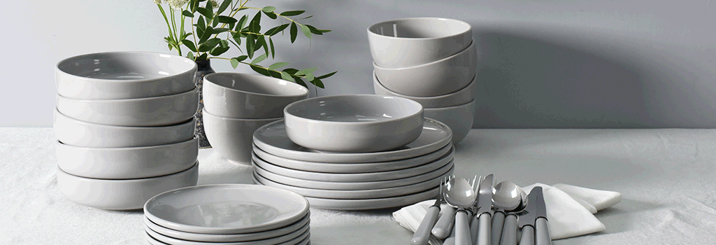 ProCook Stockholm tableware in Grey that is an ideal set for university students due to its contemporary design