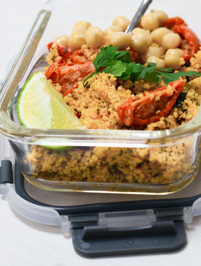 Couscous served in a ProCook Glass Airtight Oven Dish, perfect for a picnic