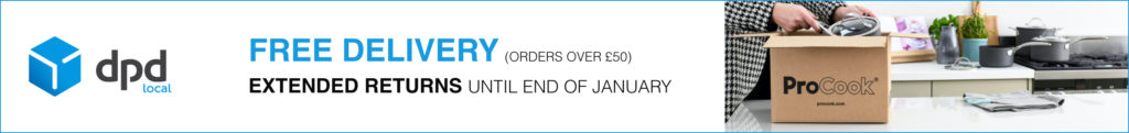 Free delivery on orders over £50 with extended returns until the end of January at ProCook