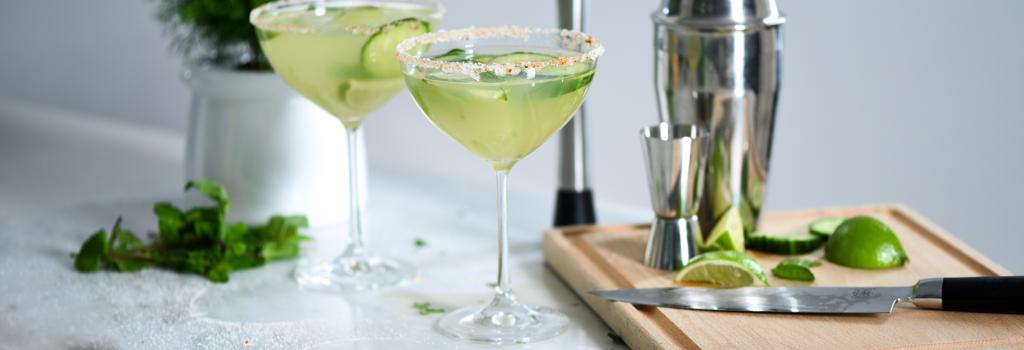 Cucumber Maragarita served in ProCook Champagne Saucer