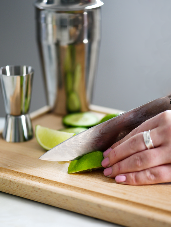 Slicing lime for ProCook Cucumber Margarita