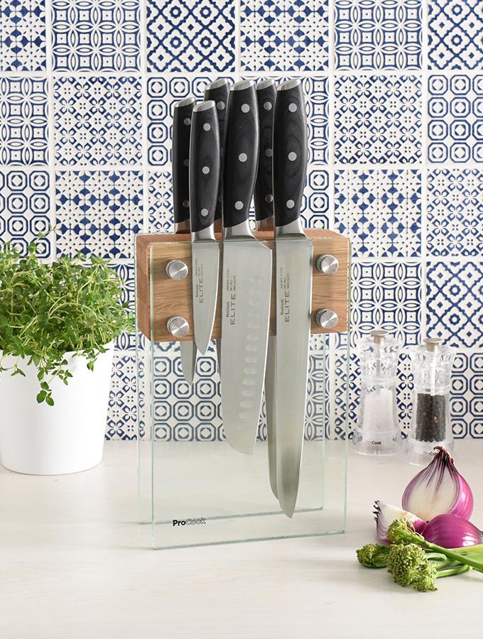 ProCook magnetic glass knife storage block with Elite X80 knife set
