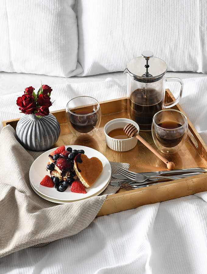 ProCook cafetiere and pancakes on a tray for Valentine's breakfast in bed