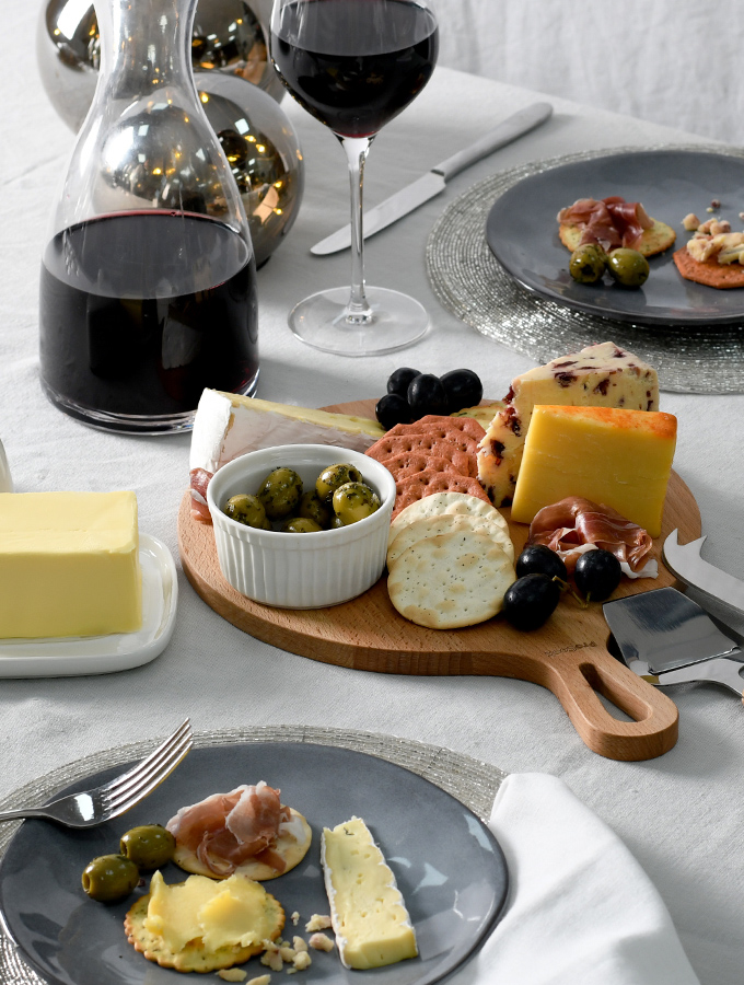 ProCook cheeseboard and wine glasses set up for Valentine's Day