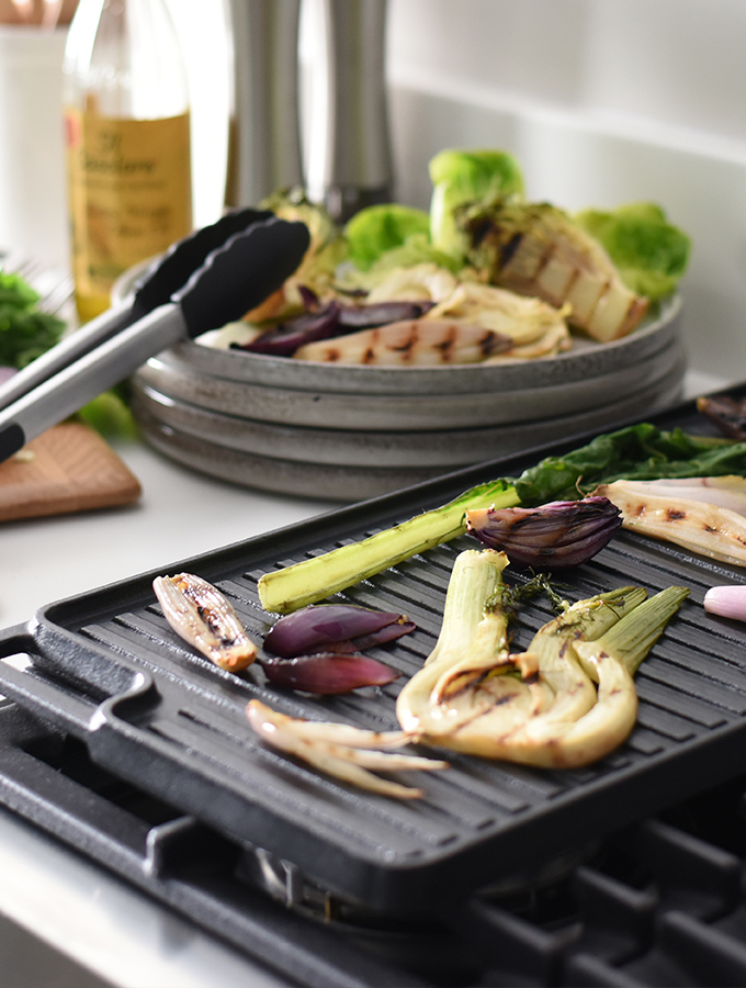 Vegetables grilling on a ProCook Cast Iron Reversible Griddle