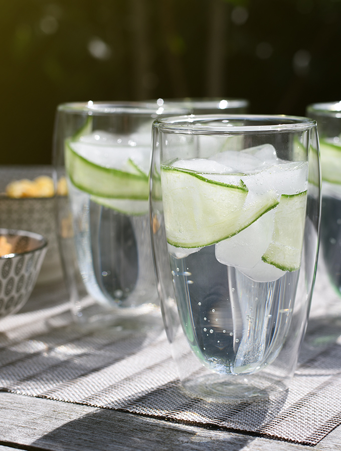 Gin and tonic cocktail served in ProCook double walled glasses