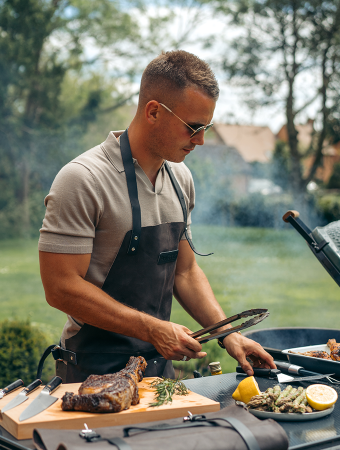 Charlie Irons cooking on a BBQ with ProCook BBQ Accessories
