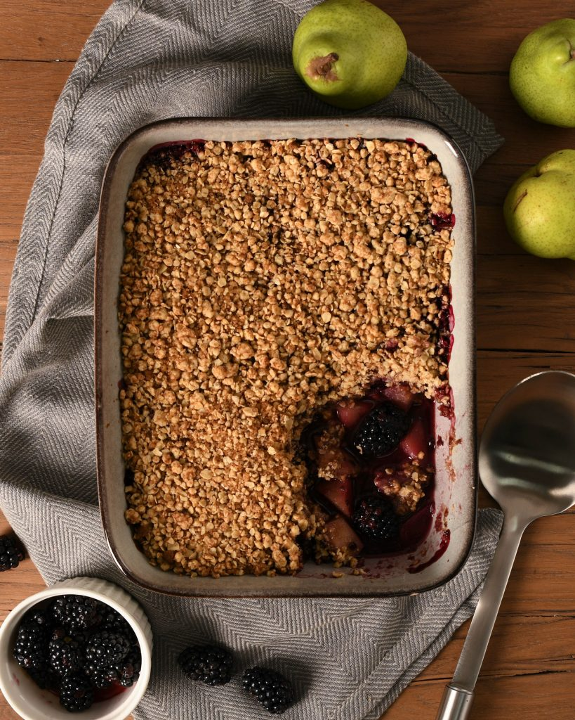 Pear and Blackberry Crumble made in a ProCook Stoneware Oven Dish for autumn