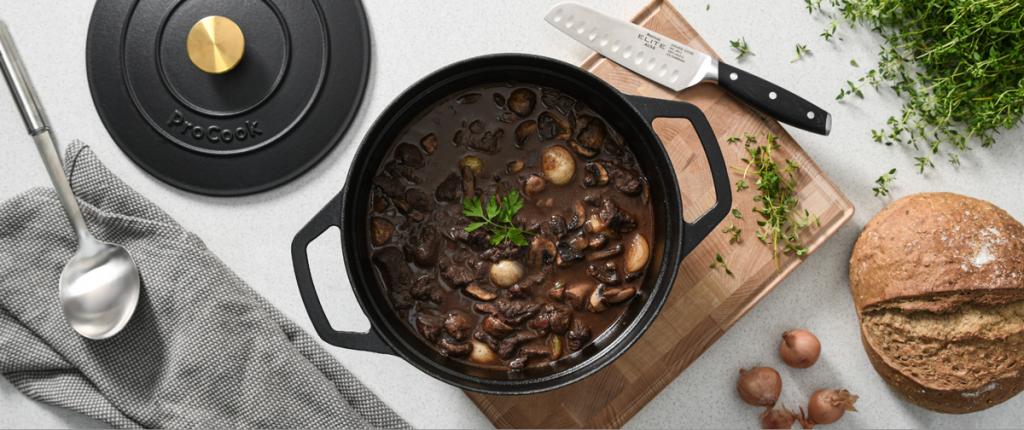 Boeuf Bourguignon made in a ProCook Cast Iron Casserole Dish